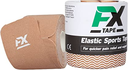 FX TAPE Elastic Kinesiology Therapeutic Cotton Sports Tape (20 Precut 10in Strips, Beige Color)