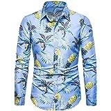 EERTX - Chemise Homme Chemises Slim Homme En Lin Et Coton Imprimé Moderne Eté Hiver Manches Longues T Shirt De Base Blouse Fi