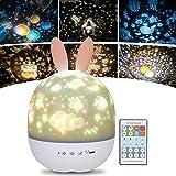 URAQT Veilleuse Enfant Lampe Etoile Projecteur, 360°Rotation Musicale Veilleuse + Minuterie + Télécommande + 6 Couleurs, LED