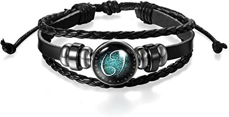Young & Forever Navratri Jewellery & Diwali Gifts for Family and Friends 12 Constellation Zodiac Sign Good Luck Handmade Black Genuine Leather Unisex Bracelet