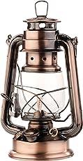 Lunartec Öllampe: Nostalgische Petroleum-Sturmlaterne mit Glaskolben, Bronze, 24 cm (Petroleum Laterne)