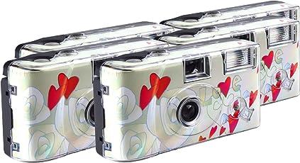 TopShot Flying Hearts Einwegkamera / Hochzeitskamera (27 Fotos, Blitz, 5-er Pack)