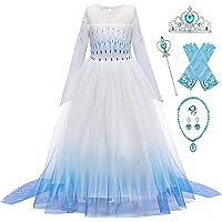 New front Déguisement Princesse Elsa Fille Robe de Princesse Reines des Neiges 2 Manches Longues Costume et Accessoires…