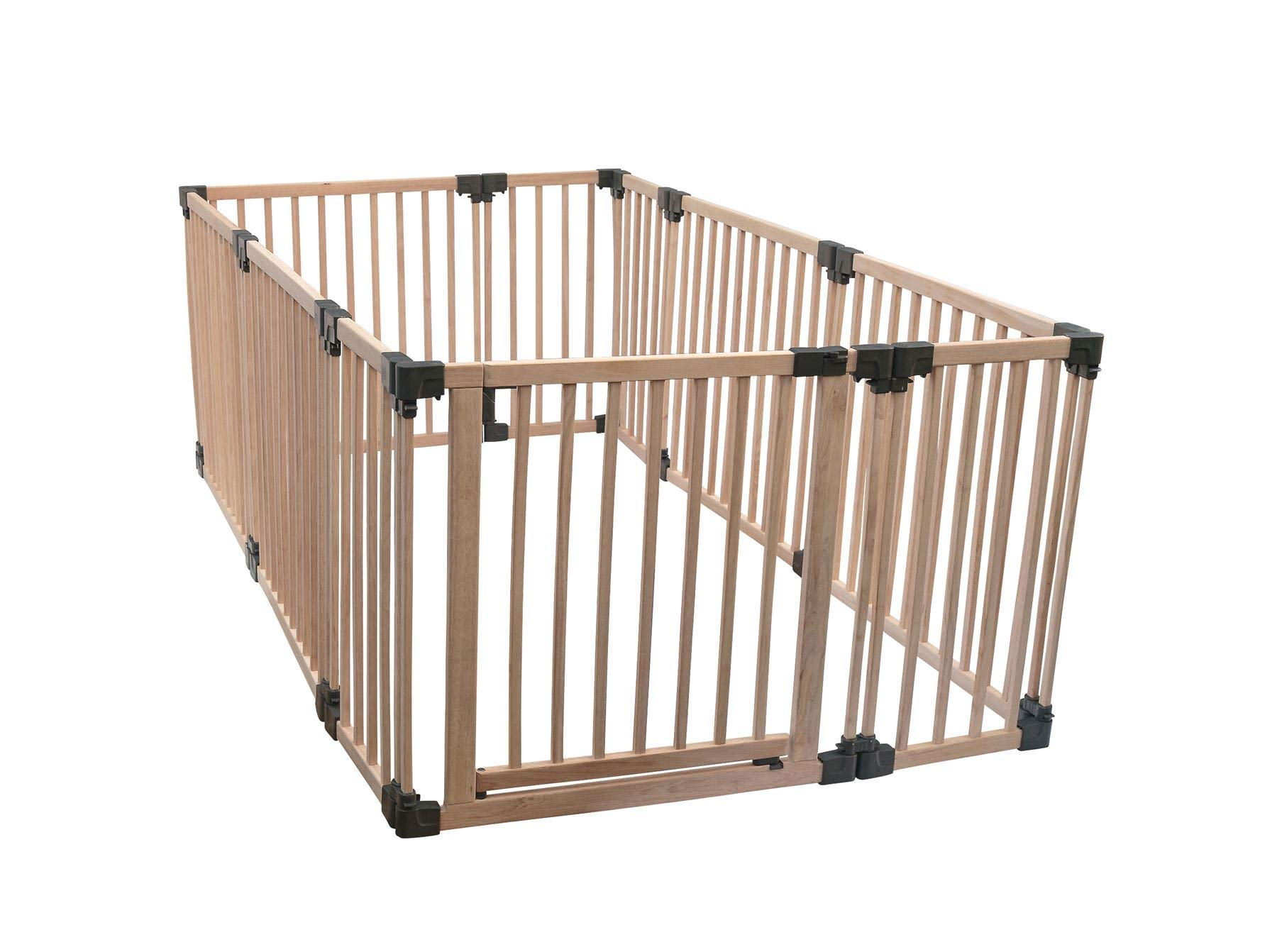Safetots Play Pen Wooden All Sizes (Large Rectangular) Safetots This configuration is complete with 1x 80cm gate panel, 5x 80cm panels, and 4x 40cm panels. Made from premium grade wood designed to compliment all home interiors Extra Wide Door Section for Easy Access, with simple slide and lift opening mechanism 1