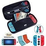 ANGPO Schutz-Kit für die Nintendo Switch mit Reisetasche und Joy-Con Silikon Hülle,2 Hartglas-Displayschutz, 2 Aufbewahrungsbox für Switch Spiele - SchwarzBlau