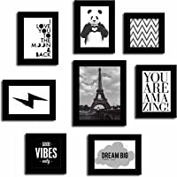 Painting Mantra Art Street Positive Vibe Quote Wood Wall Photo Frame Set (Black, Set of 8)