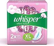 Whisper Ultra Soft Sanitary Pads XL 15 Units