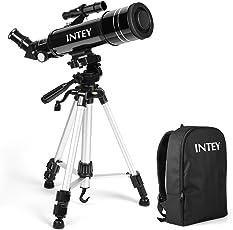 INTEY Super Klares Teleskop Tragbares Astronomisches Teleskop 70/400 Refraktor Teleskop für Einsteiger, Amateur-Astronomen und Kinder für Beobachtung von Himmel und Landschaft Upgrade-Design (mit Rucksack)