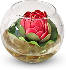 Tied Ribbons Glass Vessel with Faux Lotus and Natural Stones (12 cm x 12 cm x 12 cm), Multicolour