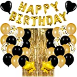 Decoraciones de Fiesta de Cumpleaños Globos,Fiesta cumpleaños Negro Oro Globos de Látex,Suministros de Cumpleaños Individuaci