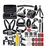 XINCOE 50-In-1 Accessory Kit for GoPro Hero 7 6 5 4 3+ 3 2 1 Hero Session 5 Black AKASO EK7000 DJI OSMO Pocket, Sports Camera