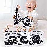 Tumama Libros de Tela Suave para bebés, Libros de Tela en Blanco y Negro Juguetes de Peluche con Animales,Fruta,número,Forma,