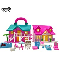 NHR Foldable Doll House 2 Room Set for Girls Kids , Openable Door with Furniture , 100% Non-Toxic BPA Free Plastic…
