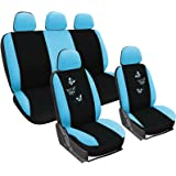 WOLTU Car Seat Covers black and blue Full Set 5 Seaters Universal for Cars