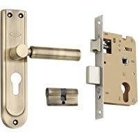 Spider Steel Mortice Cylindrical Lock Complete Set with Antique Brass Finish [ SZ01SAB + SCLZBA ] [ HSN Code:83014090 ]