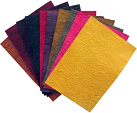 Paraspapermart 150 GSM PPM Coloured Handmade Paper Sheet, A4 Size (Assorted, 012-LKJ9) - Set of 50