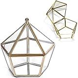 Schneespitze Vassoio Metallo Specchio,Scatola in Vetro Geometrica, Organizzatore Stoccaggio,Vetro Geometrica Scatola Decorati