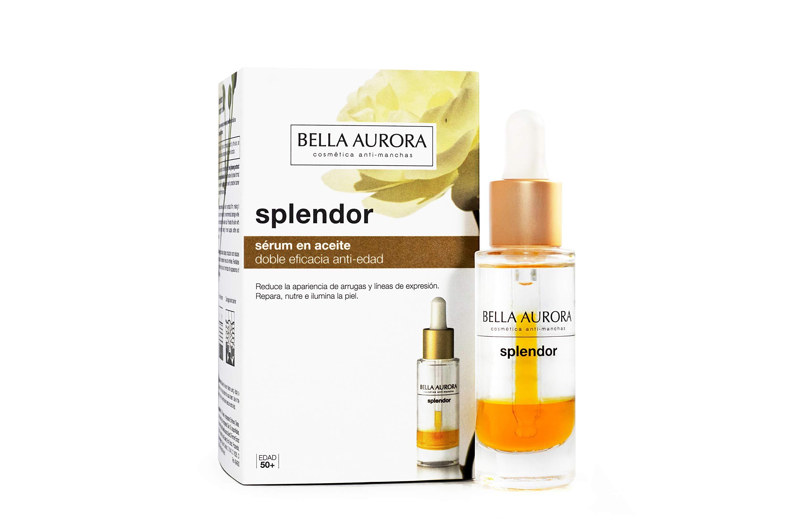 Bella Aurora Splendor Serum en Aceite, Repara y Previene el Envejecimiento, con Ginseng Rojo y Aceite de Camelia, Hidrata y Atenúa las Arrugas, Textura Ligera, 20 ml