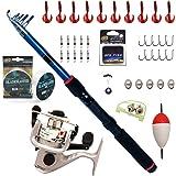 BPS Kit Combo de Pesca Incluye Caña de Pescar Spinning Telescópica Carrete de Pesca Cebos y Accesorios de Pesca para Mar de A