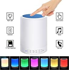 Teconica M-53 Table Lamp Night Light Portable Wireless Bluetooth Speakers Smart Touch Sensor Bedside Lamps RGB Color Changing With Metal Handle TF Card/ Aux-In For All Android, Windows And IOS Devices [Colour May Vary]