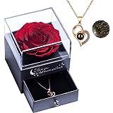 Yamonic Véritable Rose éternelle avec Collier I Love You, Rose éternelle pour Anniversaire Noël la Saint-Valentin la Fête des