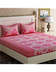 Inovamall 144TC Cotton Bedsheet with 2 Pillow Cover and witth Attractive Pink Flower Design in Light Pink Color for Double Bed  Color not Fade Guarantee Sz: 90x90inch(228x228cm) Wt:650gm