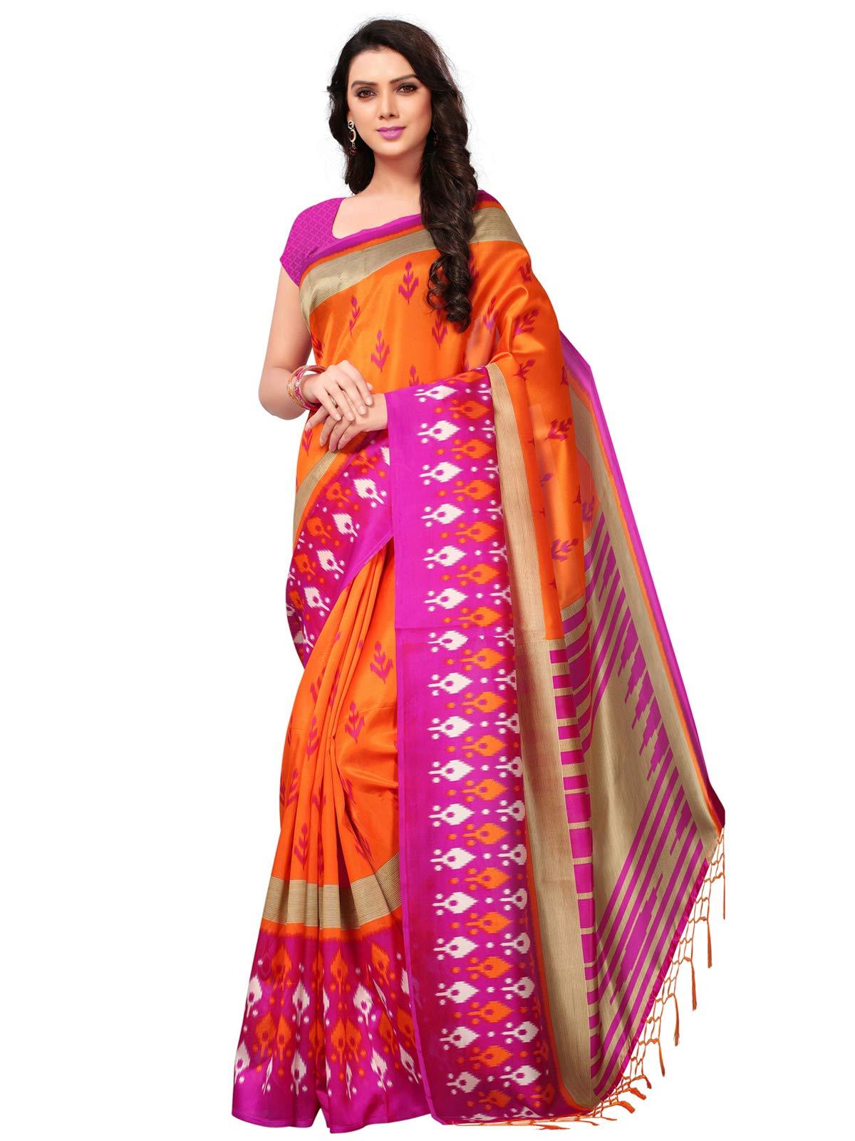 KANCHNAR Women's Pink Poly Silk Printed Saree (735S29)