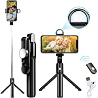 tuw Bluetooth Extendable Selfie Stick with Wireless Remote & 2 Level Fill Light for Making TIK Tok, Vlog Videos etc, and…