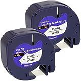 Cartridges Kingdom 2 Kompatibel 91201 S0721610 12 mm x 4 m svart på vit plastetikettband för DYMO LetraTag-skrivare