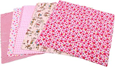 """MagiDeal 12 Pieces 10""""x10"""" Pink Floral Printed Cotton Fabric for Cloth Bedding Patchworks"""