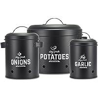 Supremery Set de boîtes de conservation I Parfait comme pot de pommes de terre, pot à ail et pot à oignons | Boîtes de…