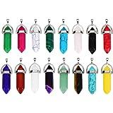 16 Stück Spitze Quarz Stein Sechseckig Kristall Anhänger Kugel Gemstein Anhänger mit Aufbewahrungstasche, 16 Farben