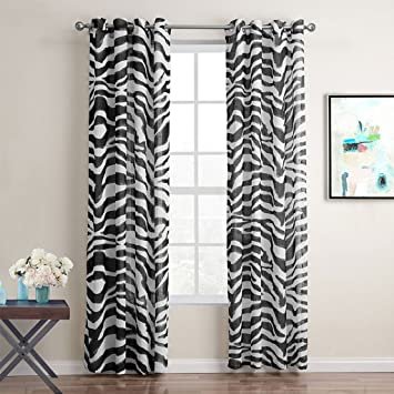 Amazonde GWELL Zebra Transparent Gardinen Senschal Vorhang Mit Sen Dekoschal Fr Wohnzimmer