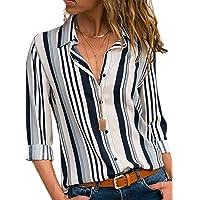 BLENCOT Camicia Donna Elegante Camicia a Righe Donna Camicetta Donna Casual Camicia Scollo a V Donna Blusa Donna Casual…