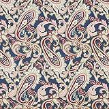 Fabulous Fabrics Baumwolljersey Marrakesch Paisley – Navy | Gütermann — Meterware ab 0,5m — Oeko-Tex Standard 100 — zum Nähen von Hosen, Röcken und Kleidern