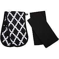 Penguin Home Coton Gant de Four et torchon 3-Pièce Set, Diamant Noir