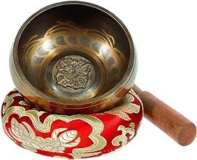 Klangschale - Exqline Silent Mind tibetische Klangschalen-Set, ideal für Achtsamkeitsmeditation, Entspannung, Stress und Angst Relief, Chakra Heilung, Yoga, Zen, perfekte spirituelle Geschenk mit Stock und Kissen