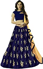 BRIDAL4Fashion Women's Embroidered Velvet Semi Stitched Lehenga Choli (Free Size)