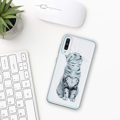 Gatto Custodia Samsung Galaxy A10 A20 A30 A40 A50 A70 M10 M20 M30 2019 Plastica Silicone Phone Case Cassa Del Telefono Regalo Phone Cover bello divertente natura faccia