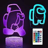 Huanchenda Amo-ng Us Lámpara Ilusión 3D, 2 Patrones 16 Colores Cambian, Luz Nocturna Lámpara de Noche para Decoración de Dorm