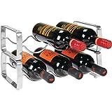 mDesign casier à bouteille (lot de 2) – range bouteille empilable en métal pour jusqu'à 3 bouteilles – porte bouteille pratiq
