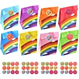 NATUCE 30 stuks regenboog papieren feestzakken, cadeau en zoete zakken Kraft zakken party gunsten tassen boodschappentas trak