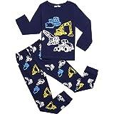 Bricnat Pijama de manga larga de algodón para niños, juego de dos piezas, diseño de dinosaurios, tiburón, cielo estrellado, c