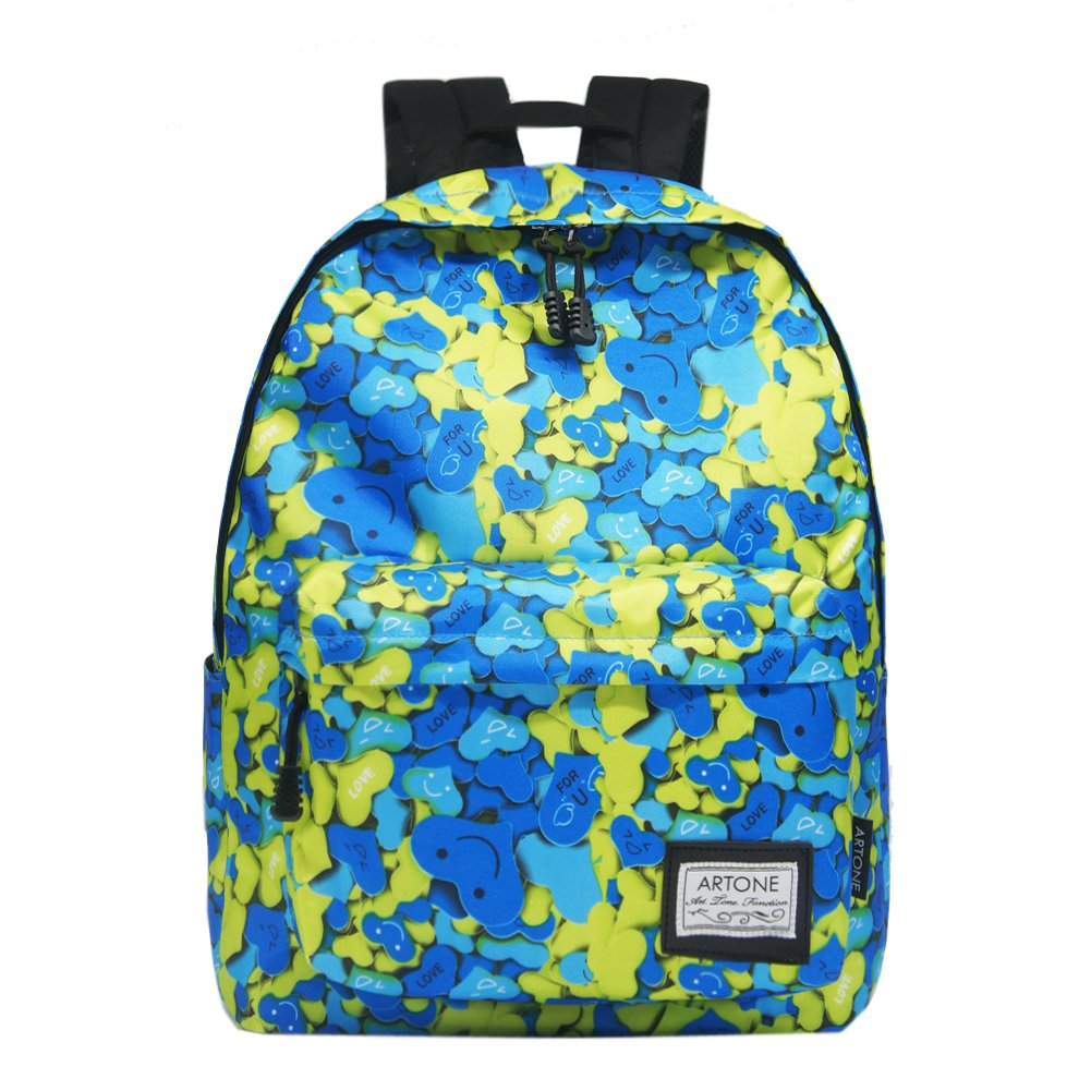 Artone Cuore Amoroso Grande Capacità Imbottito Scuola Dello Zaino Daypack Fit 14 Laptop Blu