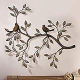 FMXYMC Oiseau Mural Art déco, Une Paire d'oiseaux d'amour sur Les Branches, Sculpture Murale en métal à Suspendre, décoration