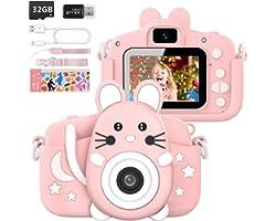 """Hangrui Cámara Digital para Niños,Cámara Fotos Infantil con 32GB TF Tarjeta,Pantalla de Protección Ocular IPS de 1080P 2,0"""" H"""