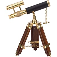 Kartique Brass Double Barrel Telescope with Tripod | Nautical Gifts | Nautical Antique | Plain Finish