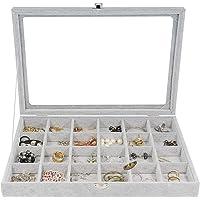 Schmuckkästchen, THETAG Damen Schmuckschatulle Ringbox mit 24 Gitter für Armband ,Halskette und Ohrringe grau (24 Gitter…