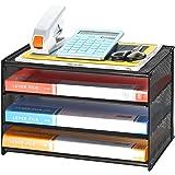 JOPOO Aktenordner A4 Schreibtisch ordentlich Organizer MDF Laminat Aktenablage Halter 4 Etagen Dokumentenablage