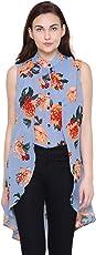 POISON IVY Women's Casual Chiffon Layered Sleeveless Elegant High-Low Top